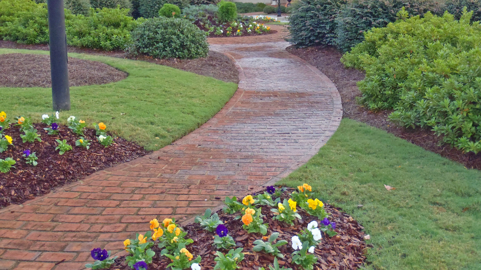 Landscaping with annuals and a paver walkway installation.