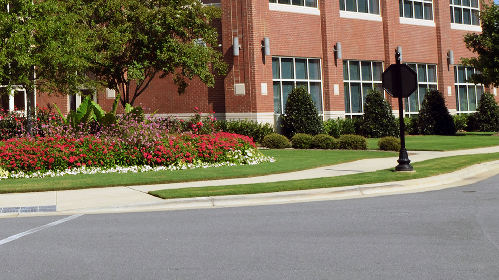 A commercial property in Atlanta that we do regular lawn and landscape maintenance.