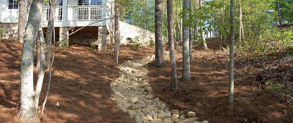 Dry creek bed drainage feature installed in Buckhead, GA.