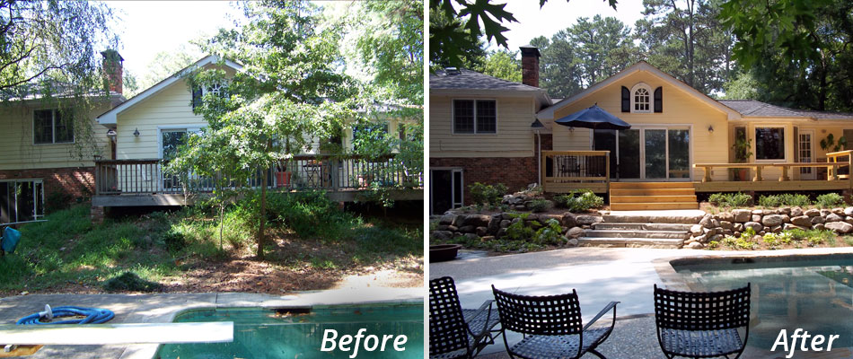 A home in Smyrna that we did a yard cleanup on and installed new landscaping that includes softscape and hardscape elements.