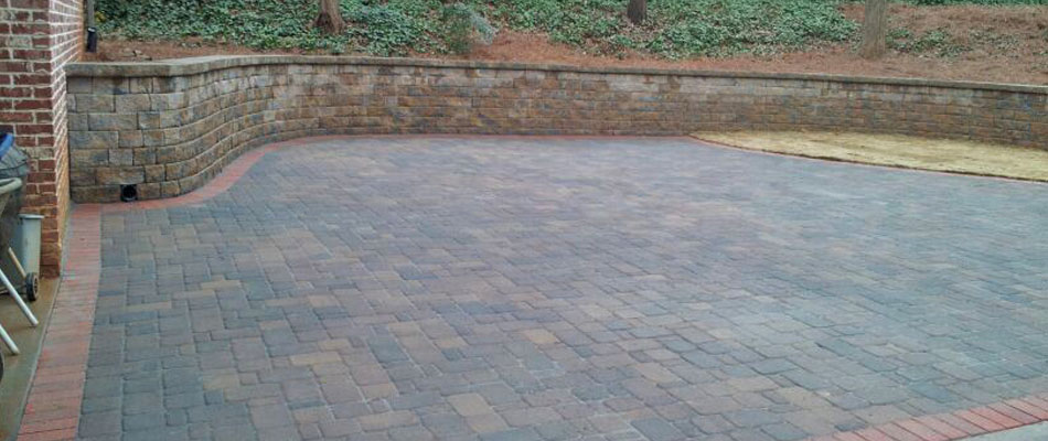 Decorative paver driveway installation at a home in Smyrna, GA.