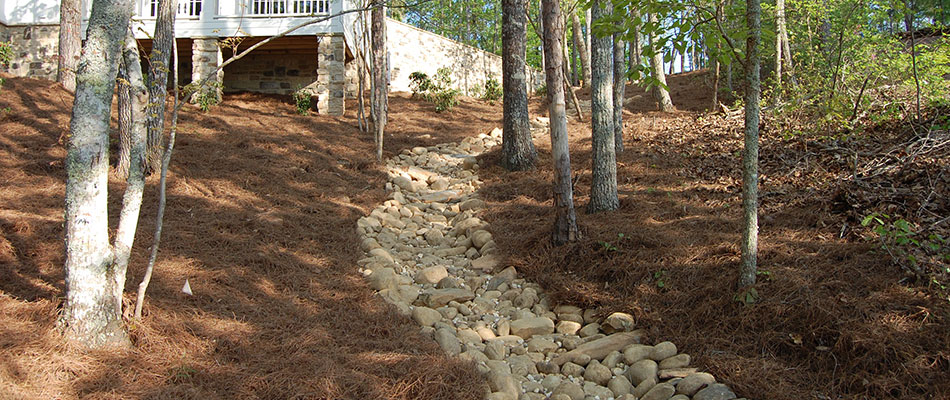 A dry creek bed at a home in Vinings, GA.