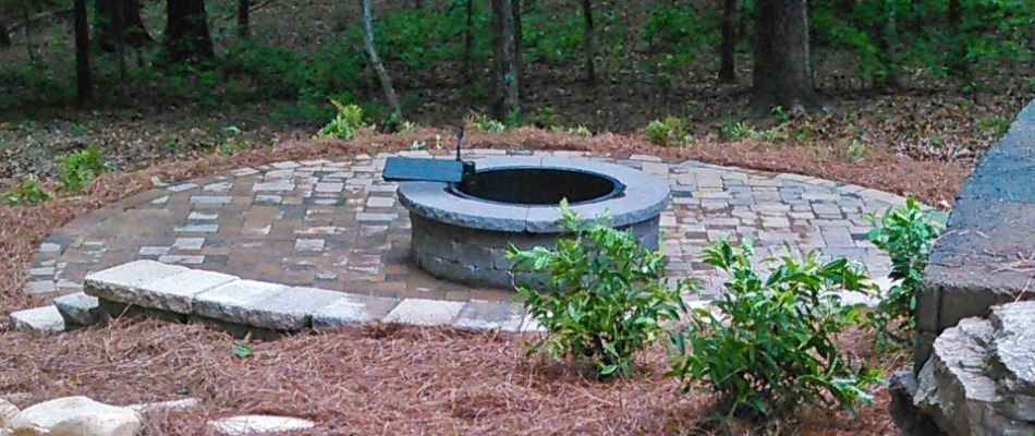 Fire pit and retaining wall installed at a home in Buckhead, Georgia.