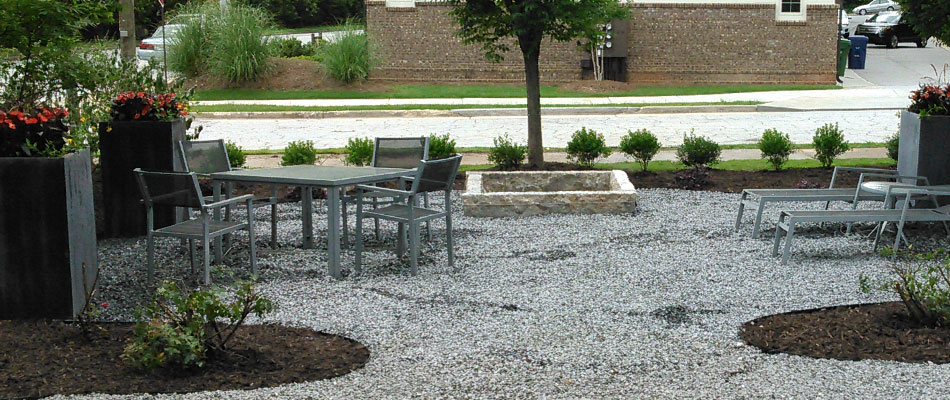 Fire pit installation at a property in Atlanta, GA.