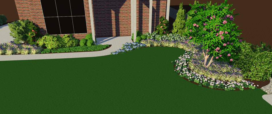 Computer generated 3d design for a landscaping project