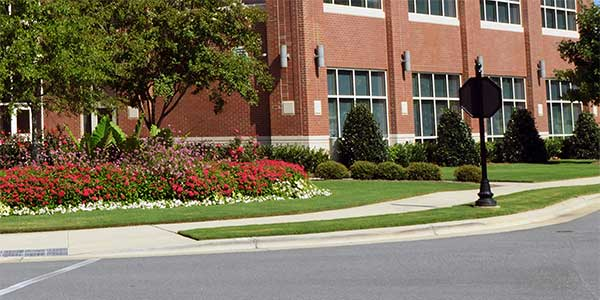 Commercial property with well maintained landscaping in Atlanta.