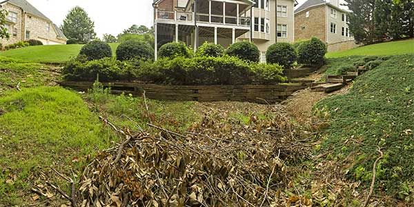 Yard debris cleanup being completed at a Buckhead property.